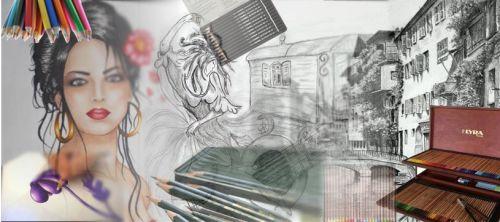 crayon graphite et de couleurs, lyra, fabercastell, stabilo, conté, koh i noor, pastel, permanent et aquarelle